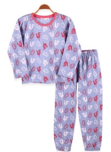 Breeze Kız Çocuk Pijama Takımı Horoz Desenli Bebe Mavisi (6-10 Yaş) Mavi